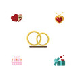 Flat icon heart set of patisserie necklace vector image