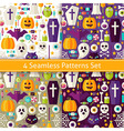 Four Flat Seamless Halloween Party Patterns Set vector image vector image