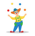 funny cartoon clown juggles with balls vector image
