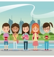 girls smiling back school urban background vector image
