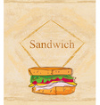 grunge background with sandwich vector image vector image