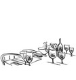 hand drawn wares sketch romantic dinner for two vector image vector image