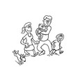happy family cartoon outlined cartoon hand drawn vector image vector image