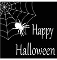happy halloween a web with a spider white on vector image