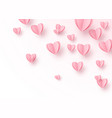 heart background with light pink paper cut hearts vector image vector image
