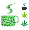 hot coffee cup composition of hemp leaves vector image