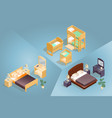 isometric cartoon furniture icon set 3d vector image vector image