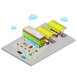 Isometric City Bus Station with Buses vector image
