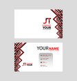 jt logo on red black business card vector image vector image