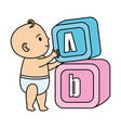 little baby with alphabet blocks toys icons vector image