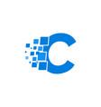 logo letter c blue blocks cubes vector image