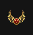 luxury letter v emblem wings logo design concept vector image