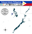 Map of Palawan island vector image vector image