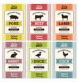 Meat labels butcher shop logo and fresh meat