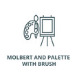 molbert and palette with brush line icon vector image vector image