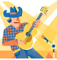 musician singer man in cowboy hat and jeans style vector image