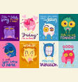 owl emotion flat cards vector image