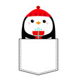 penguin head face holding gift box red hat vector image vector image