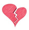 red heartbreak or broken heart or divorce isolated vector image