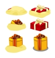 Release red and yellow gift box from sand 6 icons vector image vector image