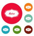 retro label icons circle set vector image vector image