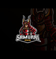 samurai mascot sport logo design vector image