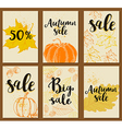 set autumn cards for seasonal sale vector image vector image