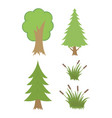 set colorful trees vector image