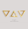 set golden triangles isolated on a light vector image vector image