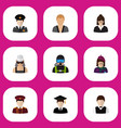 set of 9 editable profession flat icons includes vector image