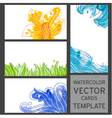 Set of grunge watercolor visit cards vector image vector image