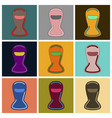 set of icons in flat design balaclava vector image