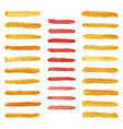 set of watercolor pastel orange and red brushes vector image vector image