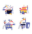 set small people cooking giant cake and in huge vector image vector image