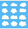 set white cloud icons in flat style isolated vector image vector image