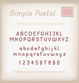 simple postal alphabet vector image vector image