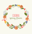 spring round frame in bright colors flowers and vector image