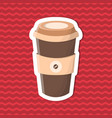 sticker of coffee to go on red striped background vector image