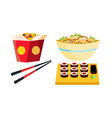 takeaway chinese food box noodles vector image vector image