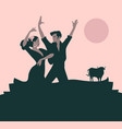 typical spanish dance bull moon or sun in the vector image