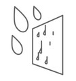 window glass and raindrops moisture impact on vector image