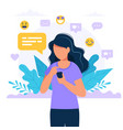woman texting with a smartphone social media vector image vector image