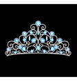 Womens tiara crown wedding with blue stones and pe vector image
