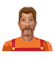worker with mustaches on white background vector image vector image