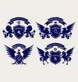 heraldric royal crests logo set vector image