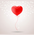 red festive balloon in shape of heart isolated on vector image