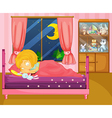 A girl sleeping soundly in her room vector image vector image