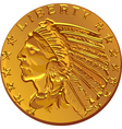 american dollar gold coin vector image vector image