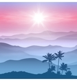 Background with palm tree and mountains in the fog vector image vector image