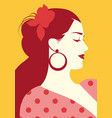 beautiful spanish woman with flower in her hair vector image vector image